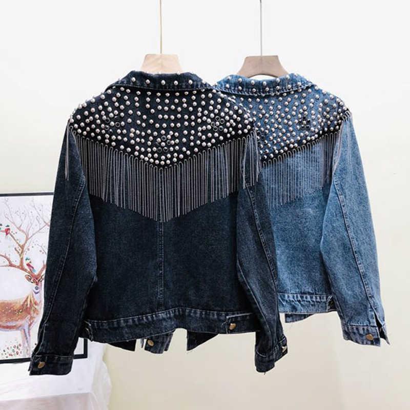 Chaquetas Mujer 2019 Musim Gugur Streetwear Denim Wanita Tangan Bertabur Keling Rumbai Rantai Pendek Jaket Jeans Longgar Hitam Mantel