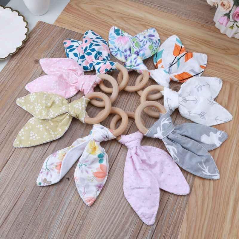 Bayi Tumbuh Gigi Cincin Bayi Anak Laki-laki Anak Perempuan Telinga Kelinci Teether Aman Organik Kayu Teething Ring Mainan Berbagai Warna Pilihan Shower Hadiah