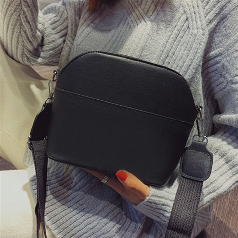2019 New Women PU Leather Pattern Shoulder Bag Wide Belt Simple Crossbody Small Female Square