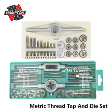 Hampton 20pcs/31pcs Metric Thread Tap And Die Set Alloy Steel Screw Tap Drill Bit M1.0 M12 Plug Taps Wrench Dies Hand Tools