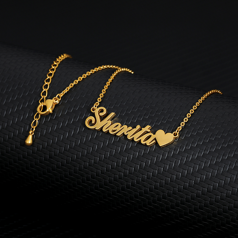 Custom Name Necklace With Heart Silver Gold Chain Stainless Steel Handmade Customized Necklace Heart Personalized Gift For Her