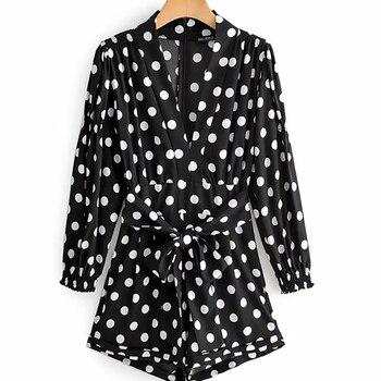 Chic Women Polka Dot Print Fashion Za Black Playsuits 2019 Summer Vintage Long Sleeve High Waist With Belt Short Jumpsuit Femme 6
