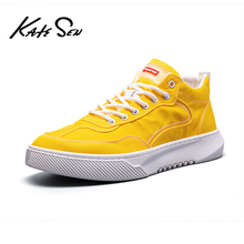 Buy KATESEN Men shoes canvas fashion High Tops Male shoes Luxury Brand mens casual sneakers waterproof lace up Flats solid shoes directly from merchant!