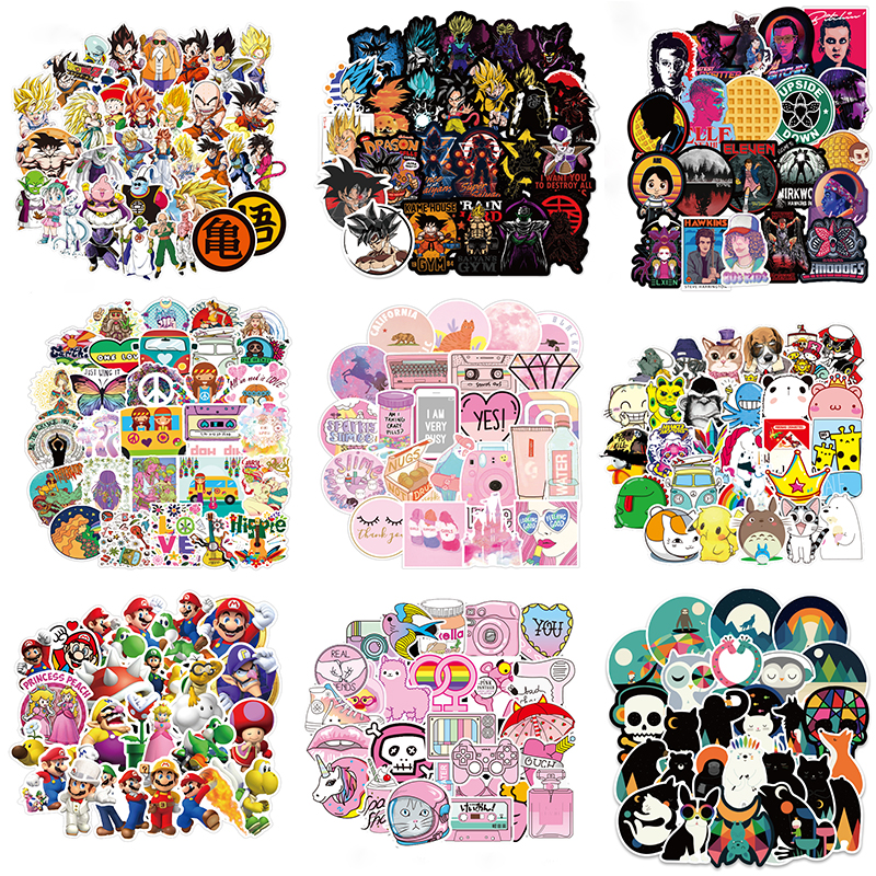 100 PCS Skateboard Fashion Waterproof Sticker For Luggage Car Guaitar Skateboard Phone Laptop Bicycle Stickers