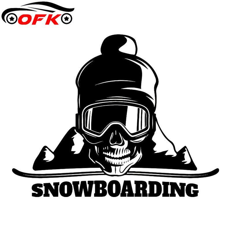 Car Stickers decor Motorcycle Decals Snowboard Skull Mountain Decorative Accessories Creative Sunscreen Waterproof PVC,18cm*14cm