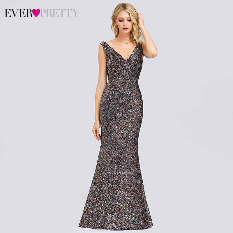 Luxury Mermaid Evening Dresses Long Ever Pretty EP00837PK Sequined Double V-Neck Sexy Ladies Party Gowns Robe De Soiree Sirene