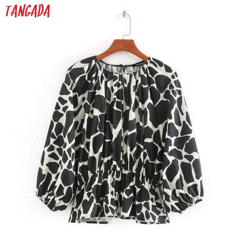 Tangada Women Retro Animal Print Tunic Blouse 2020 Chic Female Casual Pleated Shirt Blusas Femininas CE253