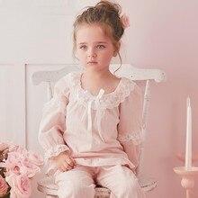 2 Piece Lovely Girls Pajamas Suit Sweet Princess Style Pyjamas 2-10y Baby Girls Sleepwear Long Sleeve Bow Soft Cotton Homewear