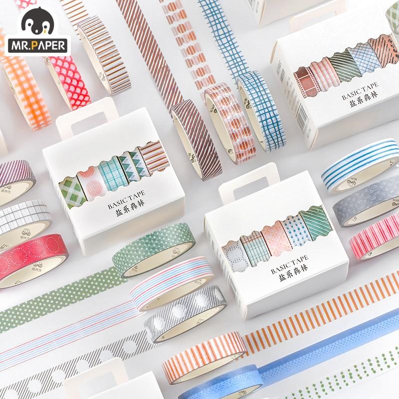 Mr.Paper 5pcs/box 8 Design Salt Forest Series Spots Color Scrapbook Cut-off Rule Washi Tape Bullet Journaling Deco Masking Tapes 2
