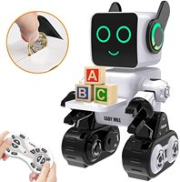 Robots for Kids,Remote Control Robot Toy Intelligent Interactive Robot LED Light Speaks Dance Moves Built in Coin Bank (White)