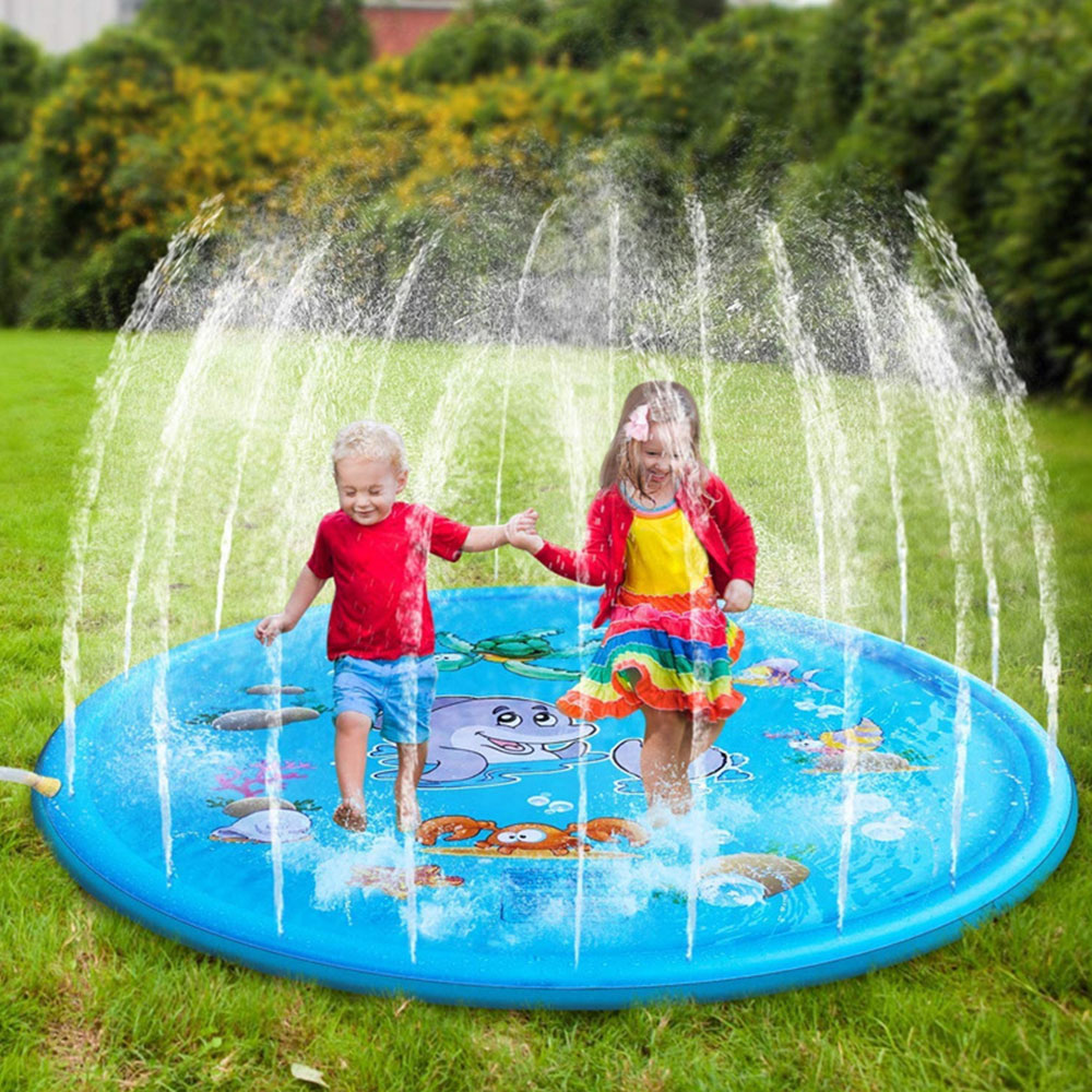Kids Dolphin Play Water Pad Games Beach Pad Spray Water Mat Outdoor Tub Swimming Pool Splash Sprinkler Fountain Game Cushion