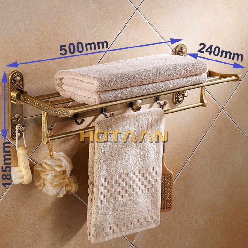 อลูมิเนียมพับทองเหลืองโบราณผ้าเช็ดตัวRack Activeห้องน้ำผ้าขนหนูคู่ผ้าเช็ดตัวชั้นวางตะขออุปกรณ์ห้องน้ำ