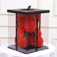 Прозрачная пустая Подарочная коробка для искусственного плюшевого мишки Розы Подарочная коробка для женщин плюшевый медведь кролик подарок