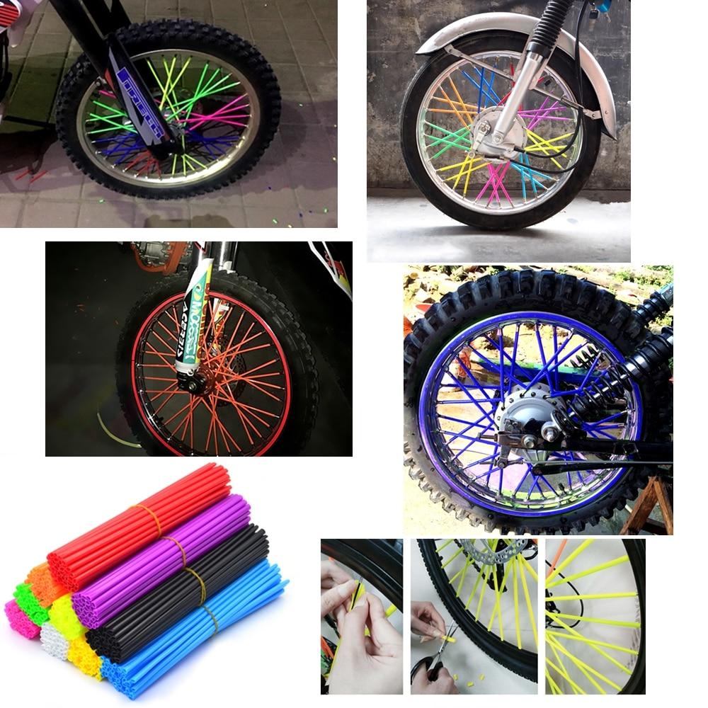 Universal Multicolor Plastic Protector Anti-dirt Decoration for Motocross Mountain Bike dirt Bikes 36pcs 17cm//24cm Wheel Spoke Cover Motorcycle Bike Color : Black-17 cm