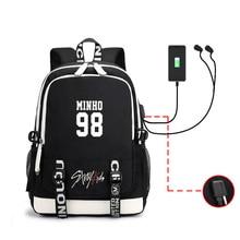 KPOP Straykids Fans USB Backpack Women Student School Bag Fo