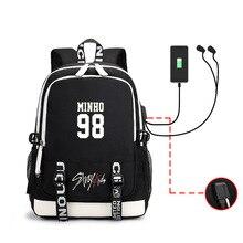 KPOP Straykids Fans USB Backpack Women Student School Bag For Laptop Bagpack For