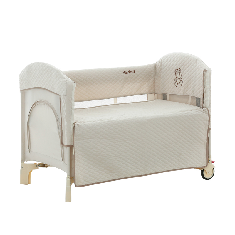 Vadera Portable Folding Crib Multi-function Full Surrounded By Peach Skin Stitching Bed Baby Bed