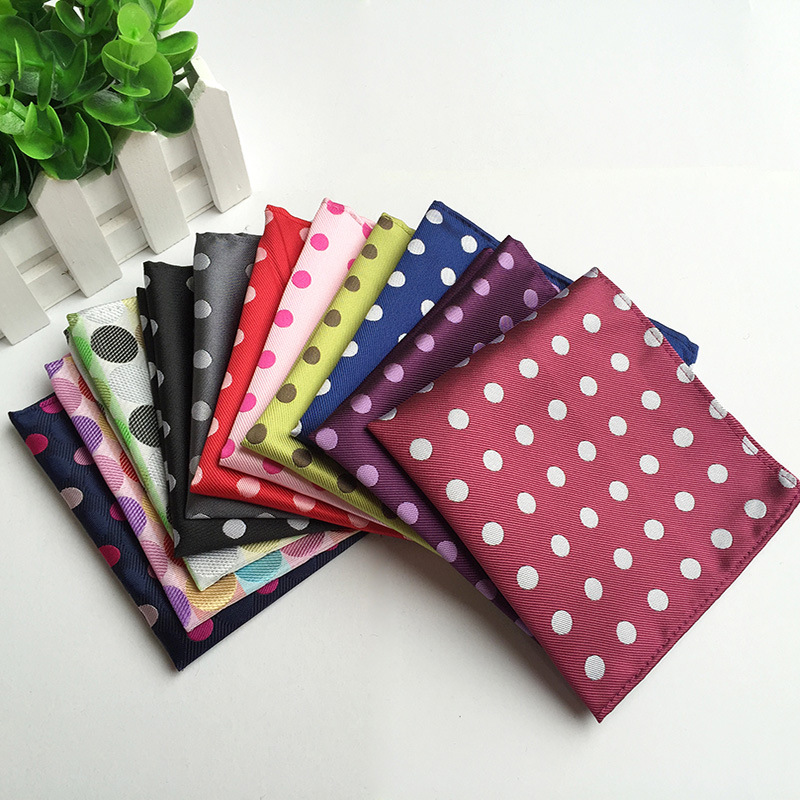 Men's Pocket Square Polyester Silk Fashion Dot Suit Wedding Men Handkerchief Square Blue Scarf