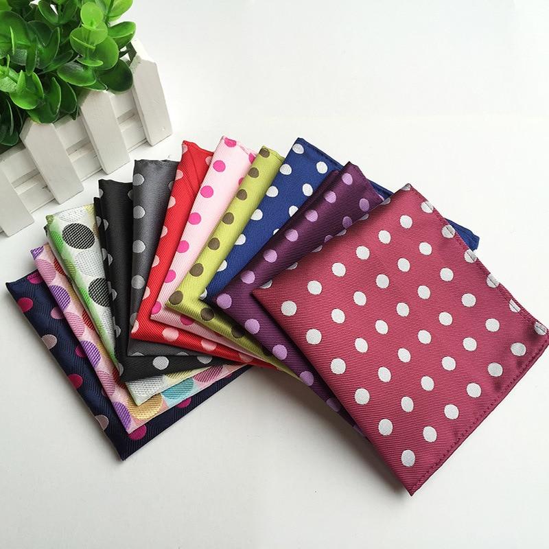 Men's Pocket Square Polyester Silk Fashion Dot Suit Wedding Men Handkerchief Square Blue Scarf
