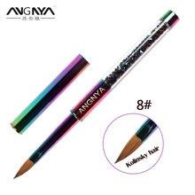 ANGNYA – brosse à ongles en Sable Kolinsky, 1 pièce, pour Gel UV, pour sculpter la poudre liquide bricolage dessiner sur les ongles, strass, poignée en métal