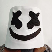 Wholesale DJ Marshmello Mask Full Head Cosplay Costume Carnaval Halloween Prop Latex Masks Headdress Accessories