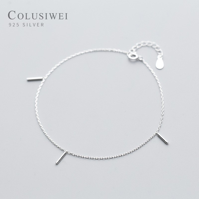 Colusiwei Minimalism Geometric Silver Anklets for Women Fashion Stick Chain Bracelets for Leg Foot Jewelry Femme Accessories