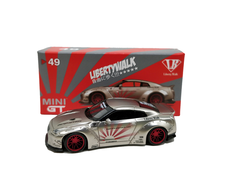 MINI GT 1:64 LB WORKS Nissan GTR R35 Type 1 Satin Silver LHD/RHD Die-Cast Model Car