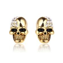 Skull earrings for women  Retro skull head full of drill men and Halloween rose gold stud jewelry