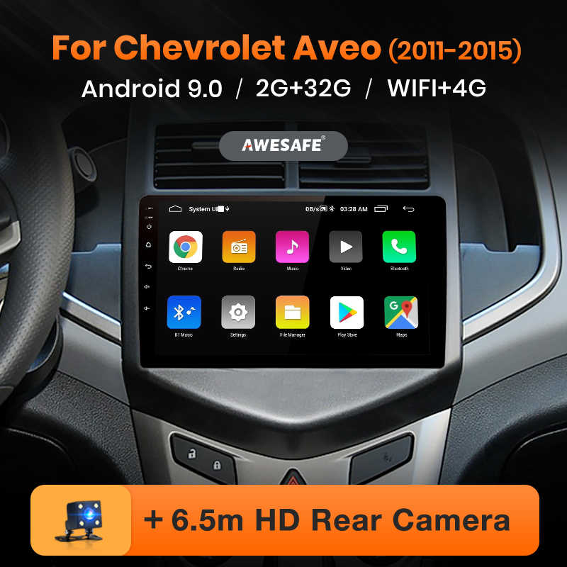 AWESAFE Chevrolet Aveo 2 Sonic 2011-2015 T300 차량용 라디오 멀티미디어 비디오 플레이어 GPS 2 din 2din DVD Android 9.0 2GB + 32GB