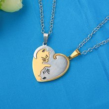 2Pcs/Set Hand Cut Cat Necklace Animal Cats Pendant Couples Friends Relationship Heart Round Shape Puzzle Necklace Jewelry(China)