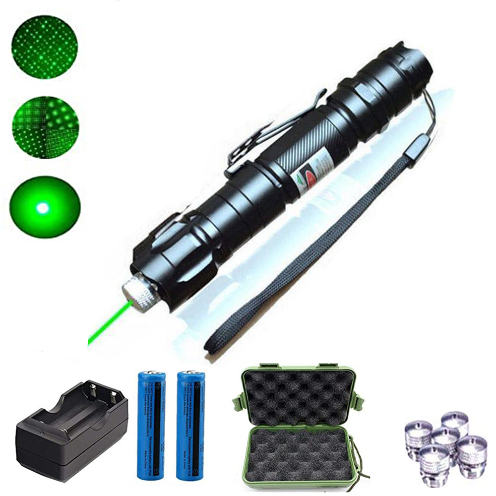 8000m Green Laser Sight Red Laser 009 Pointer High Powerful Device Adjustable Focus Lazer Laser Head Includes 18650 battery