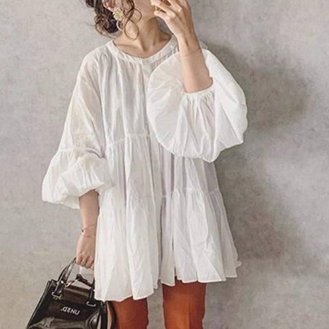 White Lantern Sleeve Blouses Women 2021 Autumn Sweet Pleated Female Shirts Tops Korean Janpanese Lady Office Blouse Shirts 2