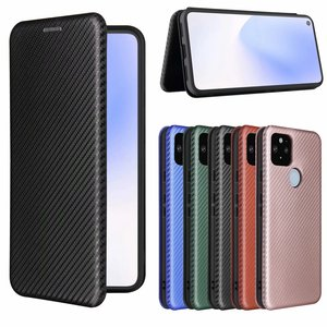 Image 3 - Włókno węglowe dla Google Pixel 4a 5G Case magnetyczny stojak na książki odwróć kartę portfel ochronny skóra Pixel 5 5A 4 XL okładka