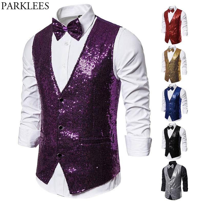 Men's 2 Pieces Purple Sequin Vest With Bowtie 2019 Brand Slim Fit V Neck Sleeveless Waistcoat Male Stage Party Show Costume 2XL