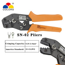 SN-02 non insulation terminals MINI EUROP STYLE crimping tool crimping plier Insulated terminals multi tool tools hands hs 06wf2c europ style ratchet crimping tool crimping plier 0 5 2 5mm2 tools hands pliers multi tool