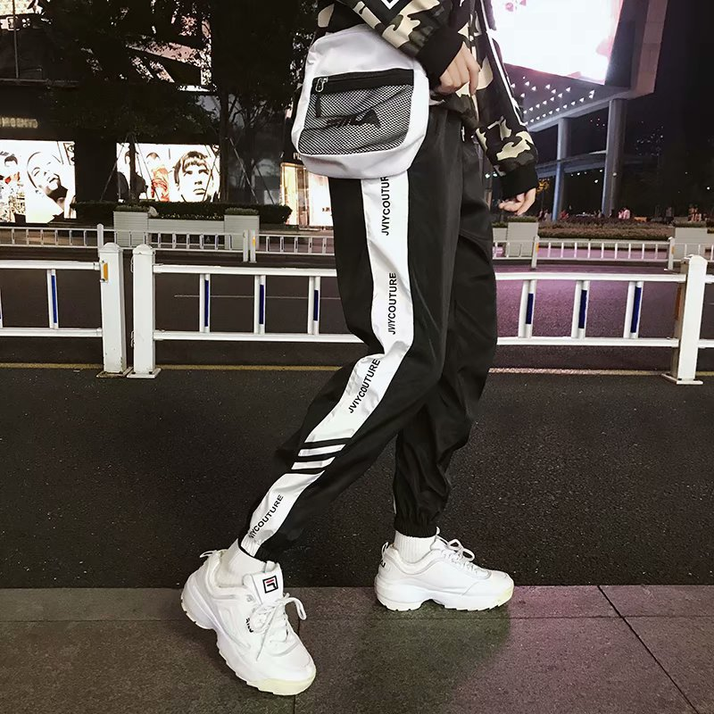 INS Super Fire Streetwear Women's Athletic Pants Loose-Fit Men And Women Students Autumn Casual Pants Hip Hop BF Style Hip Hop A