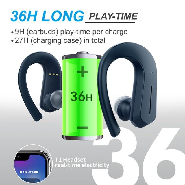 T1 TWS Bluetooth Headphones Sport 9D Stereo HiFi BT V5.0 Wireless Earphones IPX7 Waterproof 36Hrs Play-time Touch Control 3