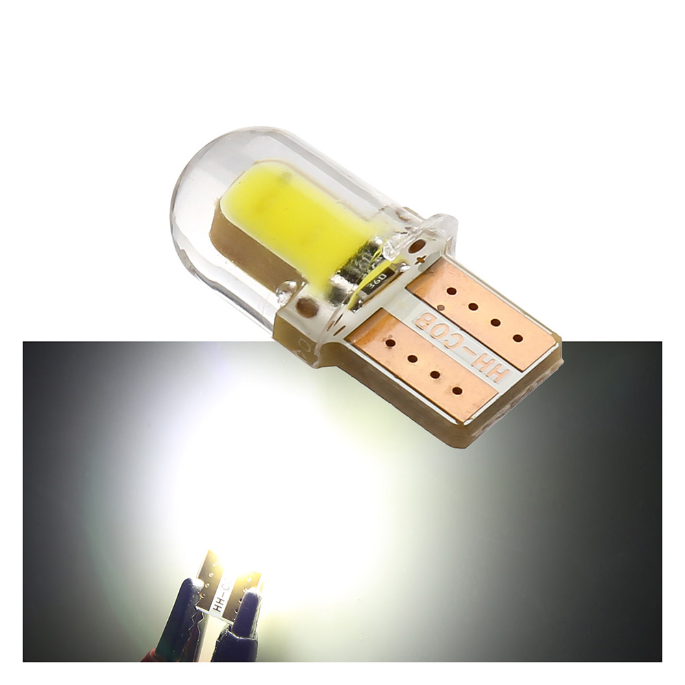 1 Piece T10 LED White License Light Bulb W5W 194 168 W5W COB 8SMD Led Parking Bulb Auto Wedge Clearance Lamp CANBUS Silica