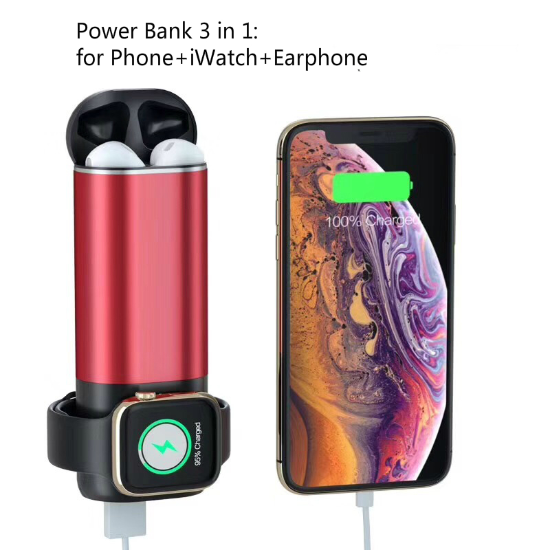 Lantro JS Three-in-One Wireless Mobile Power Bank Charger for iWatch Earphone and Wire Smartphones