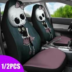 Uniwersalne pokrowce na siedzenia samochodowe ozdoby do wnętrza samochodu wzór czaszki pokrowiec na siedzenie samochodowe pokrowiec na fotel samochodowy pojazd pełny pokrowiec na siedzenie