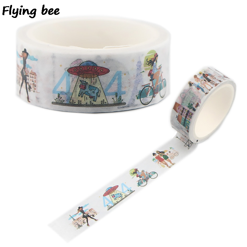Flyingbee 15mmX5m Illustrations Bike Washi Tape Paper DIY Planner Masking Tape Paris Adhesive Tapes Stickers Decorative X0505