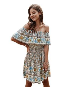 Women Dresses Summer Printed dress 2020 Sexy V Neck Floral Print Boho Beach Dress Ruffle Short Sleeve