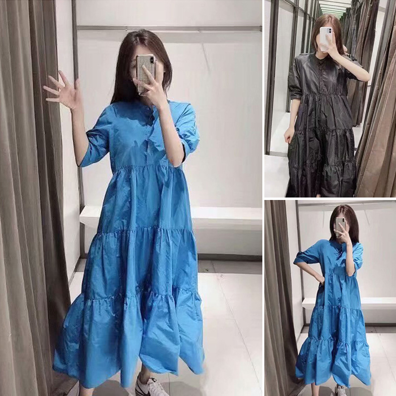 7939201 Autumn New Style Za Home WOMEN'S Dress Puff Sleeve Loose-Fit Dress 07939201420 07939201800