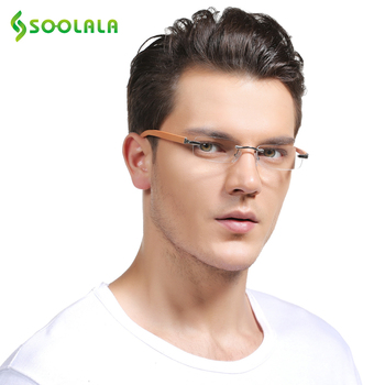 SOOLALA Rimless Wood Bamboo Mens Reading Glasses Frame Magnifying Presbyopic Leesbril Mannen +1.0 1.5 to 3.5