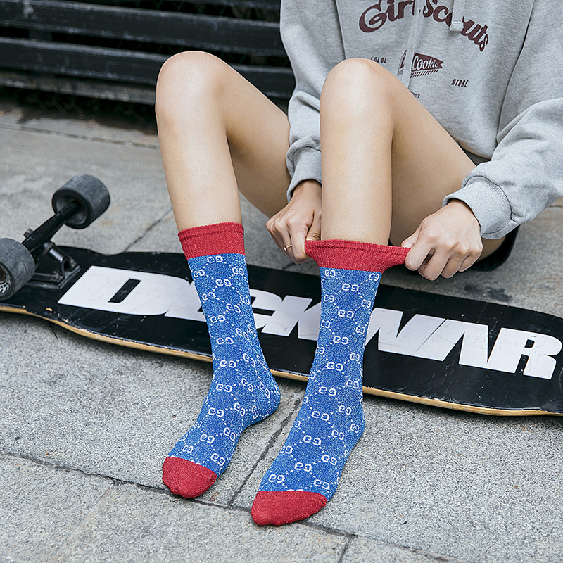 New Products Japanese-style Pure Cotton Double GG Women's Bunching Socks Fashion Candy Bar English Lettered European And America