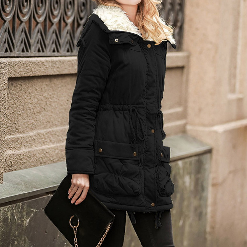 Winter Jacket Coat Women Lace Up Tunic Warm Plus Size Hooded Jackets Vintage Solid Outwear Parka Fashion Pockets Tops Femme