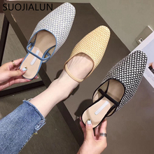 SUOJIALUN New 2019 Autumn Summer Women Slippers Round Toe Slip On Woman Mules Shoes Half Outside Slides Casual