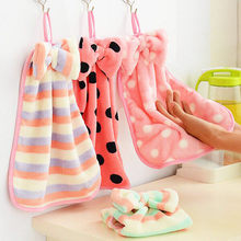 Beautiful bow Thickened coral wool Can be hung Hand towel Blotting kitchen cloth The bathroom towel Wash towels in the bathroom(China)