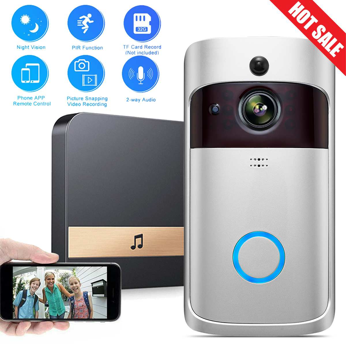 Video Doorbell Wireless 720P 2.4G WiFi Real Time 2Way Talk Voice Intercom Smart PIR Motion Detection Ring Doorbell Home Security