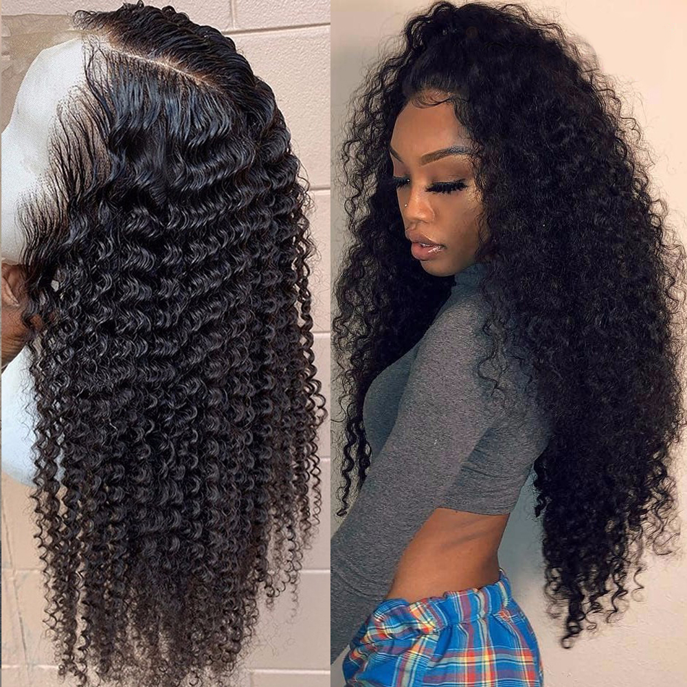 Brazilian Kinky Curly Human Hair Wig 360 Lace Frontal Human Hair Wigs PrePlucked With Baby Hair Beaudiva Curly Lace Frontal Wig